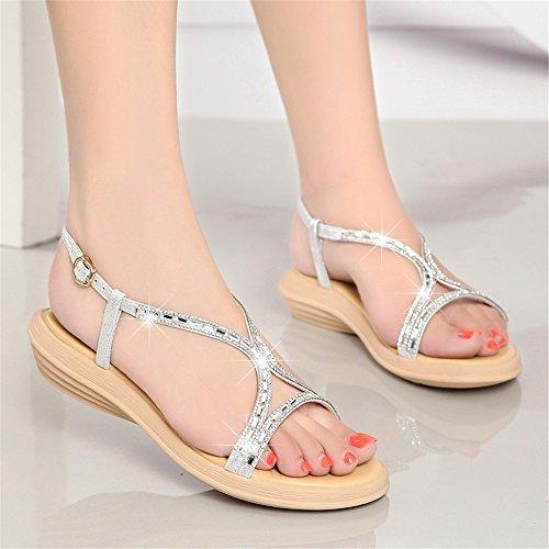 slip per Hxvu56546 diamante uomo nuove argenteo sandali estive scarpe un Le morbido low confortevole AqIPa