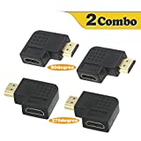 VCE HDMI 90 and 270 Degree Male to Female Vertical Flat Adapter 2 Combos