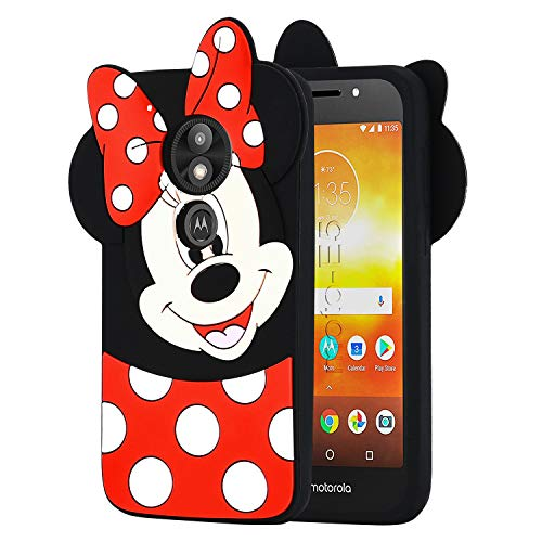 Allsky Case for Motorola Moto E5 Plus/ E5 Supra,Cartoon Soft Silicone Cute 3D Fun Cool Cover,Kawaii Unique Kids Girls Teens Animal Character Rubber Skin Shockproof Funny Cases for E5 Plus Minnie Mouse