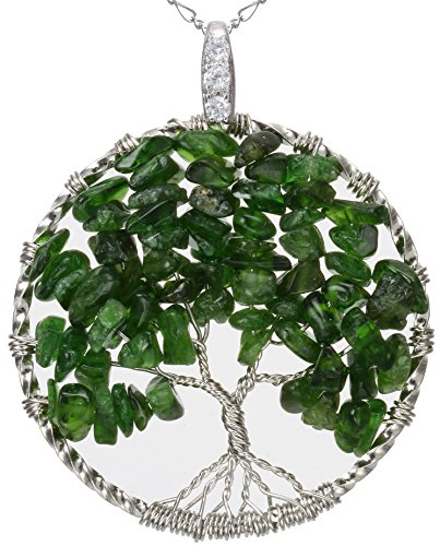 Tourmaline Tree of Life Green Gemstone Jewelry Best Friend Necklace Silver Pendant 2pc Chain Deluxe Gift