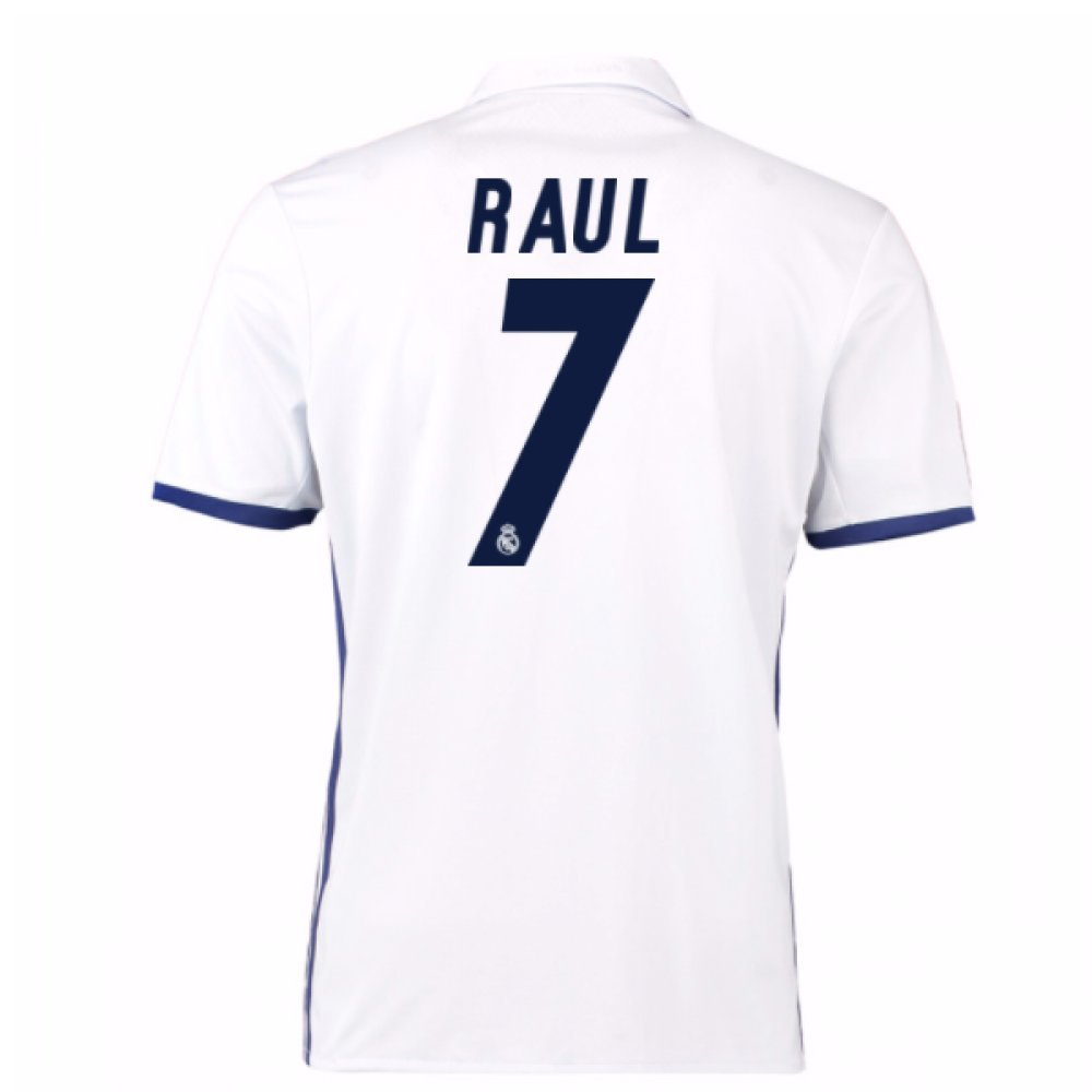 2016 – 17 Real Madrid Home Shirt ( Raul 7 ) – キッズ B0785SHNBGホワイト 11/12 Years US Medium Boys 30-32\