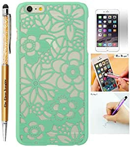 The3Knights[TM] For Apple iPhone 6 plus 5.5 inch TACT Damask Design Pattern Rubber Coating Ultra Slim Fit Hard Cover + Premium Screen Guard + The3Knights[TM] Universal 2 in 1 Crystal Classic Stylus Pen (Spring Hawaiian Flowers - Green)