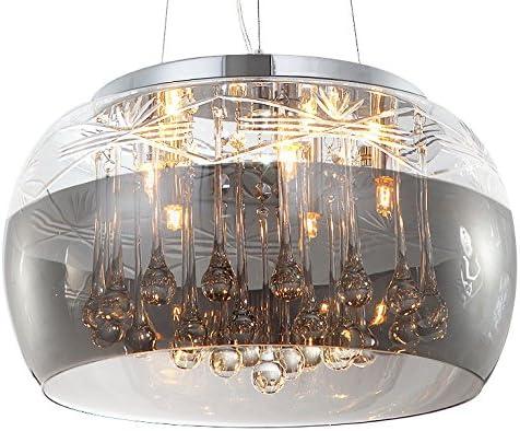 Cristal LED plafonnier suspension lampe lustre pendentif /éclairage lumi/ère abat-jour verre salle /à manger d/ésign moderne /Ø 40cm 5xG9 douille