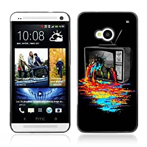 Designer Depo Hard Protection Case for HTC One M7 / Cool TV Colors Art