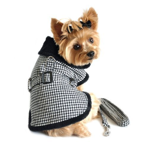 DOGGIE DESIGN Black and White Classic Houndstooth Dog Harness Coat with Leash XS