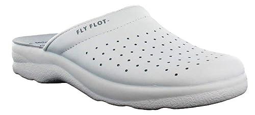 FLY FLOT CIABATTE SABOT SANITARIE UOMO art. 7270 pelle bianco (42) bb318befdb3
