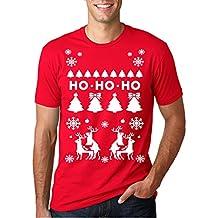Ho Ho Ho Christmas Tree Shirt Funny Reindeer Xmas Sweater Tee M (Red)