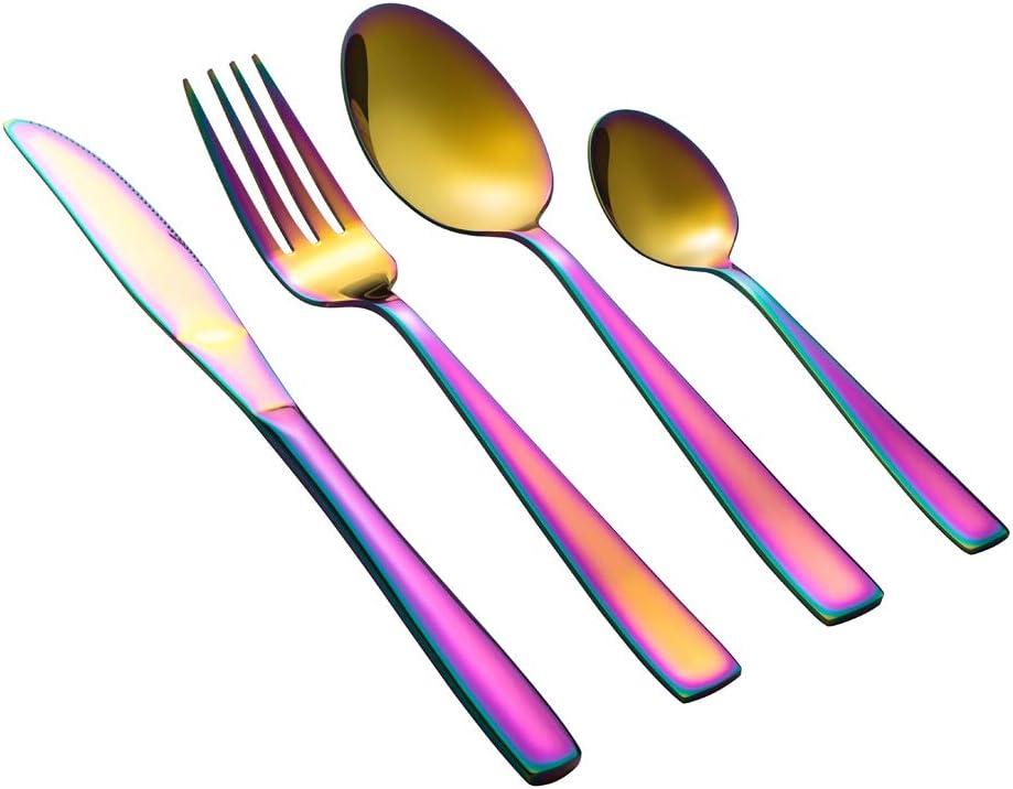 Ensemble dustensiles de Cuisine en Acier Inoxydable 24 pi/èces Un Ensemble de Couverts Poli Miroir pour 6(Argent) des fourchettes et des cuill/ères MEJAJU Ensemble dargenterie Comprend Un Couteau