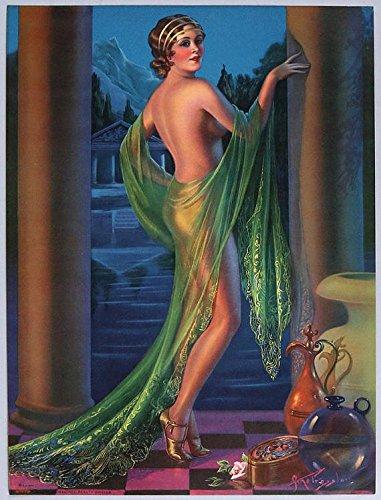 Vintage 1930s Original Large Art Deco Pin-Up Girl Print Lithograph Gene Pressler Unimagined Beauty Exotic Grecian Fantasy Jazz Age Flapper