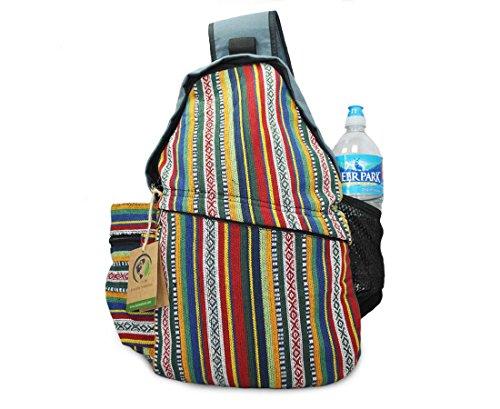 Mato Sling Bag Backpack Boho Bohemian Tribal Aztec Baja Pattern One Shoulder Daypack Blue