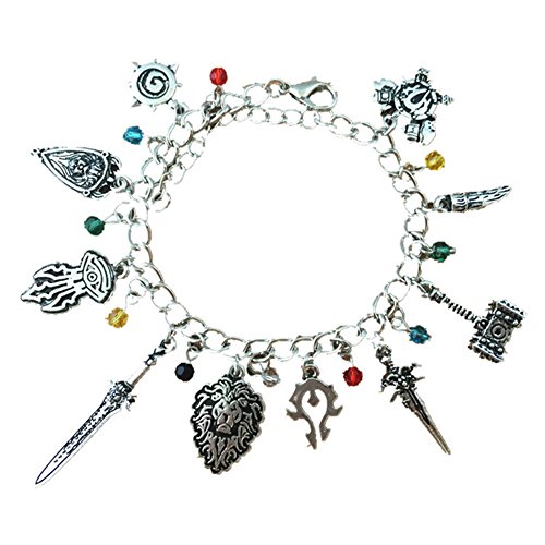 World Of Warcraft Accessories (Blue Heron World Of Warcraft 10 Logo Charms Lobster Clasp Bracelet w/Gift Box)