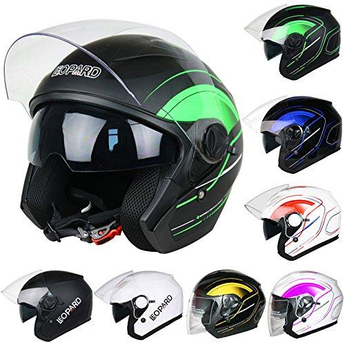 Leopard LEO-608 DOUBLE SUN VISOR Open Face Helmet SV Motorbike Motorcycle...
