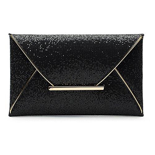 Millya Womens Ladies sobre embrague bolso de mano Lentejuelas soporte de fiesta novia boda bolso noche bolsa, negro (negro) - DJB3027-02 negro