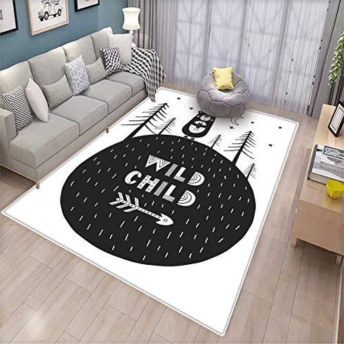 Black and White Floor Mat for Kids Hand Drawn Bear Holding a Fish with a Smile in Forest Wild Child Quote Bath Mat Non Slip Black and (Sassafras Kids Fish)