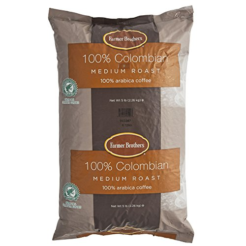 Farmer Brothers Coffee - Whole Bean Medium Roast 100% Colombian 5 Lb Bag (Case of 6) by Farmer Brothers