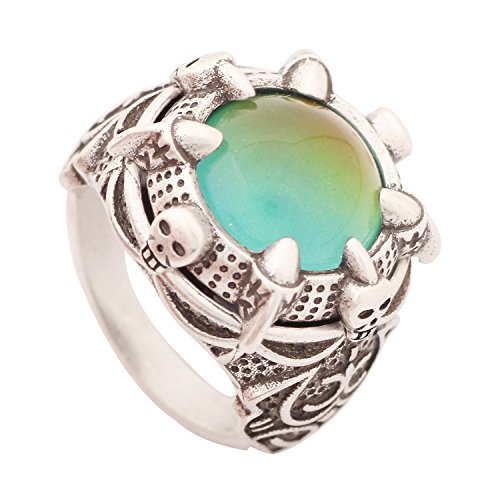 MOJO JEWELRY Mood Ring Antique Sterling Silver Finish Handmade Mood Stone Unique Cool Skull & Claw Pattern for Men with Free Gift (10) (Free Mood Rings)