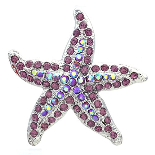 Soulbreezecollection Starfish Charm Pin Brooch Wedding Bridesmaid Fashion Jewelry Necklace Pendant Compatible (Purple) (Nautical Charm Pin)