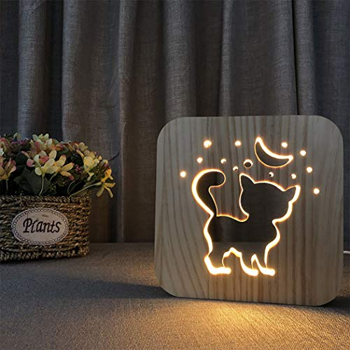 - LED Table Lamp, 3D Wooden Lamp USB Charging Cat Cartoon Night Light Home Bedroom Beside Decor Lamp, Gift for Kids Adult Girls Boys