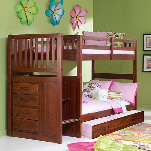 Cheap Merlot Twin Twin Staircase Bunk with Trundle