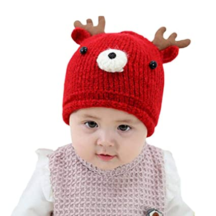Samber Baby Girls Boys Winter Warm Knit Hat Toddler Wool Hat Christmas  Antlers Warm Hat Hand 9f82c36b9f3