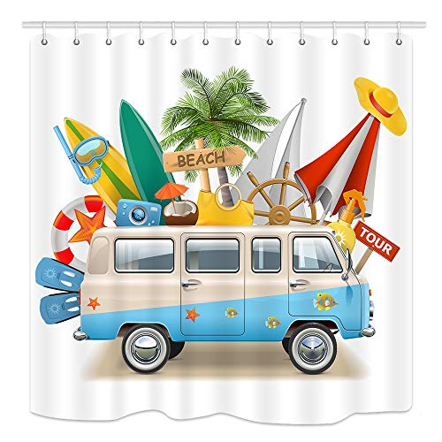 KOTOM Retro Minivan Palm Tree and Surf Board Trip Theme Shower Curtain, Waterproof Fabric Bathroom Decor Bath Curtains 12PCS Hooks, 69X70 Inches