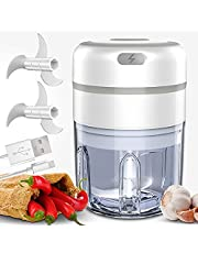 Electric Mini Food Chopper, Bbtops Rechargeable Food Processor/Blender For Baby Food,Garlic,Nuts,Veggie,Fruit,Salad, 250ML + 2Sets Stainless Steel Blades