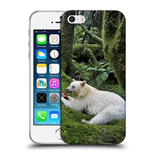 Just Phone Cases Coque de Protection TPU Silicone Case pour // V00004077 Manger ours albinos dans la forêt // Apple iPhone 5 5S 5G SE