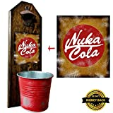 """Nuka Cola"" Bottle Opener and Cap Catcher – Wall Mounted – Handcrafted – Made of Solid Pine 3/4″ Thick – Rustic Cast Iron Opener & Galvanized Bucket – Unique Gift For Sale"