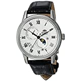 Orient Men's 'Sun and Moon Version 3' Japanese Automatic Stainless Steel and Leather Casual Watch, Color:hite (Model: FAK00002S0)