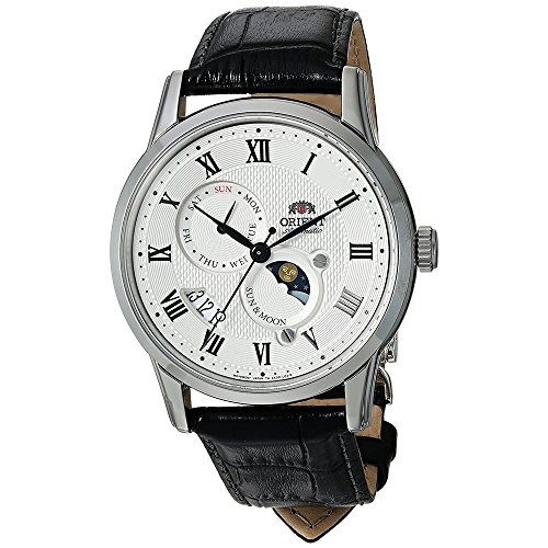 Orient Men's 'Sun and Moon Version 3' Japanese Automatic Stainless Steel and Leather Casual Watch