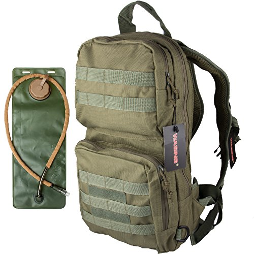 WASING Hydration Pack with 3L Bladder and 2 Additional Pockets. Tough Military Style Backpack Is Perfect for Hiking, Biking, Running, Walking and More. (Army GREEN)
