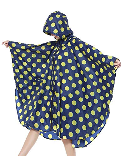 Libre Outdoor Dots Sólido Con Chaqueta Al Aire Flowers Regneponcho De Impermeable Dunkelblau Impermeables Mujeres Color Capucha Rain Huixin wqY1xHatg