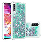 Cfrau Liquid Case with Black Stylus,Women Girls Luxury Love Hearts Stars Bling Glitter Diamond Sparkle Floating Shockproof Quicksand TPU Case Compatible with Samsung Galaxy A70/A7 2019,Green Hearts