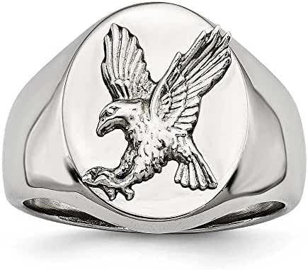 18.86mm Stainless Steel Polished With Sterling Silver Rhodium-plated Eagle Ring - Ring Size Options: 10 11 12 9