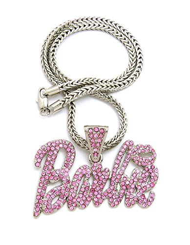 NEW ICED OUT PINK BARBIE PENDANT & 18