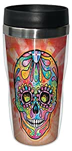 Tree-Free Greetings 78214 Dean Russo Spectral Sugar Skull Sip 'N Go Stainless Lined Travel Mug, 16-Ounce