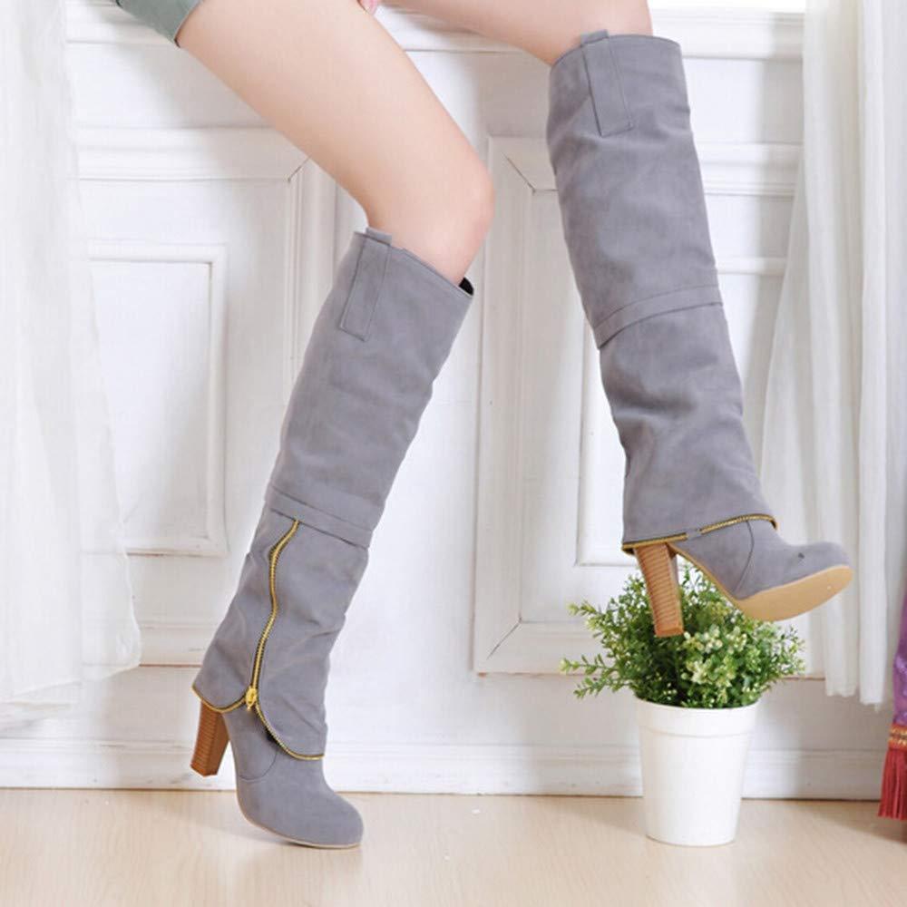 Fashion Womens High Tube Boots Round Head Anti-Slip Zipper Knee-High High Heeled Boots.