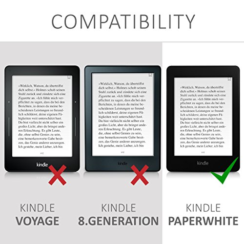 kwmobile Case for Amazon Kindle Paperwhite - Book Style PU Leather Protective e-Reader Cover Folio Case - blue red light blue by kwmobile (Image #6)