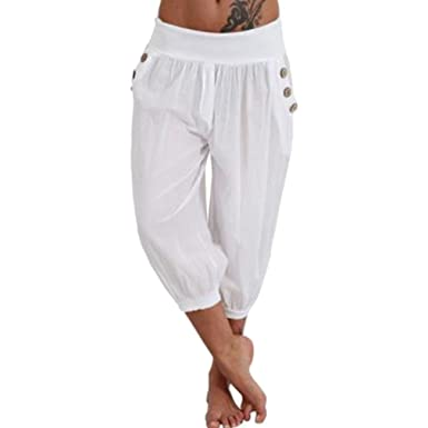 d4a266323550 Highdas Womens 3 4 Pants Capri Pants Loose Harem Beach Trousers Women Yoga  Pants Wide Leg Long Pants Plus Sizes  Amazon.co.uk  Clothing