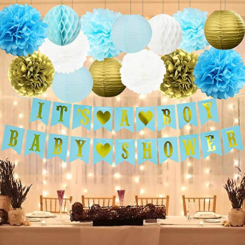 HappyField Boy Baby Shower Decorations - IT'S A BOY BABY SHOWER Banner Tissue Pom Poms Paper Lanterns Honeycomb Balls Battery Powered LED String Lights Blue Gold Baby Shower Decorations For -