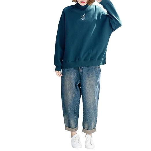 QJKai Gran tamaño Suelto de Las Mujeres más Terciopelo Grueso Cuello Alto suéter de Invierno Bordado Camisa de Fondo: Amazon.es: Jardín