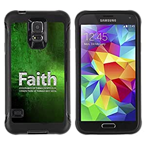 iKiki Tech / Estuche rígido - Faith Conviction Hope Green Quote Life - Samsung Galaxy S5 SM-G900