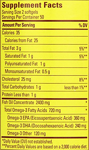 031604013288 - Nature Made Fish Oil Omega-3, 1200mg, 100 Softgels carousel main 1