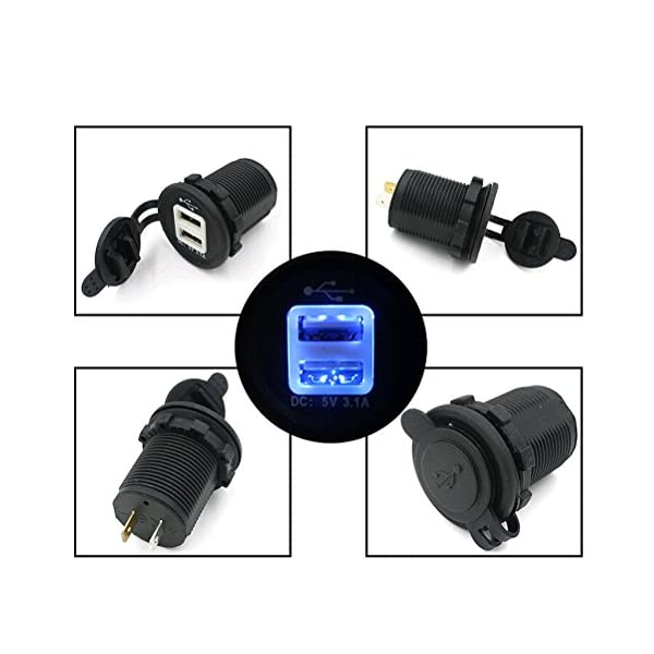 Portable Waterproof Blue LED 12 24V Car Motorcycle Cigarette Lighter Socket Dual USB Power Adapter Charger Outlet Black