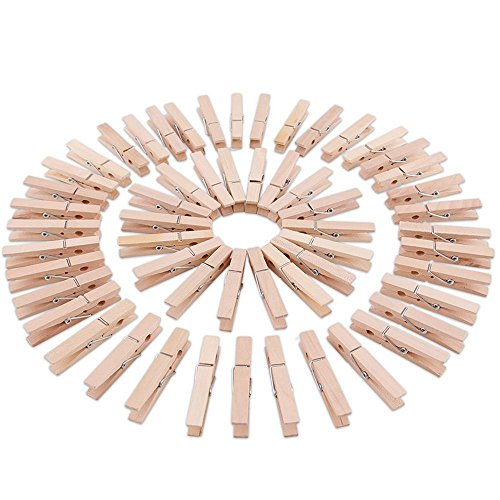 Supla 60 Pcs 3.0 inch Natural Wooden Spring Clothespins Photo Paper Peg Pin Craft Clips Place Card Holder Bag Clips for Home School Arts Crafts Wedding Party Supplies (Tree Holder Place Card)