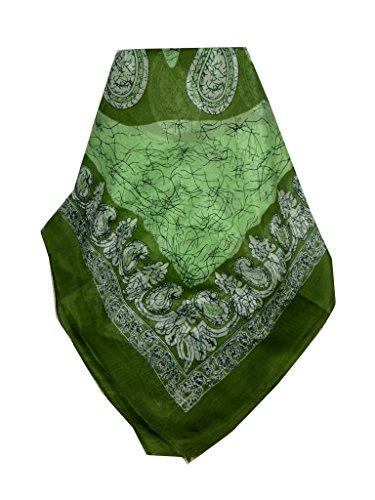 Echarpe Foulard Premier Qualité Classic Motif Zahra en Green en 100% Soie du Mûrier de Pashmina & Silk