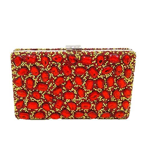 Nuevo Bolso De Las Señoras Señoras Diamante Bolso Color Rhinestones Perforación Caliente Bolso De Tarde Mini Bolsos Del Banquete Red