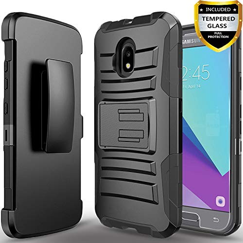 Samsung Galaxy J7 Refine Case/J7 2018/J7 Star/J7 V 2nd Gen/J7 Crown/J7 Aura/J7 Top/J7 Aero/J7 Eon With[Tempered Glass Screen Protector] Circlemalls Belt Phone Holster Protective Heavy Duty Cover-Black