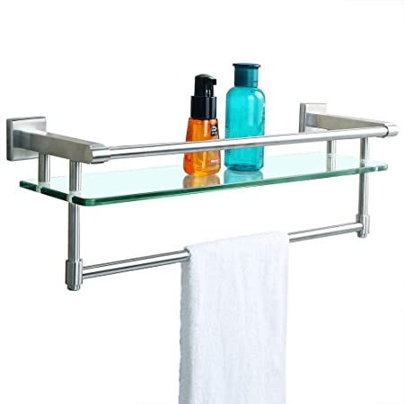 Sayayo Tempered Glass Shelf Square Bathroom Shelf With Towel Bar And
