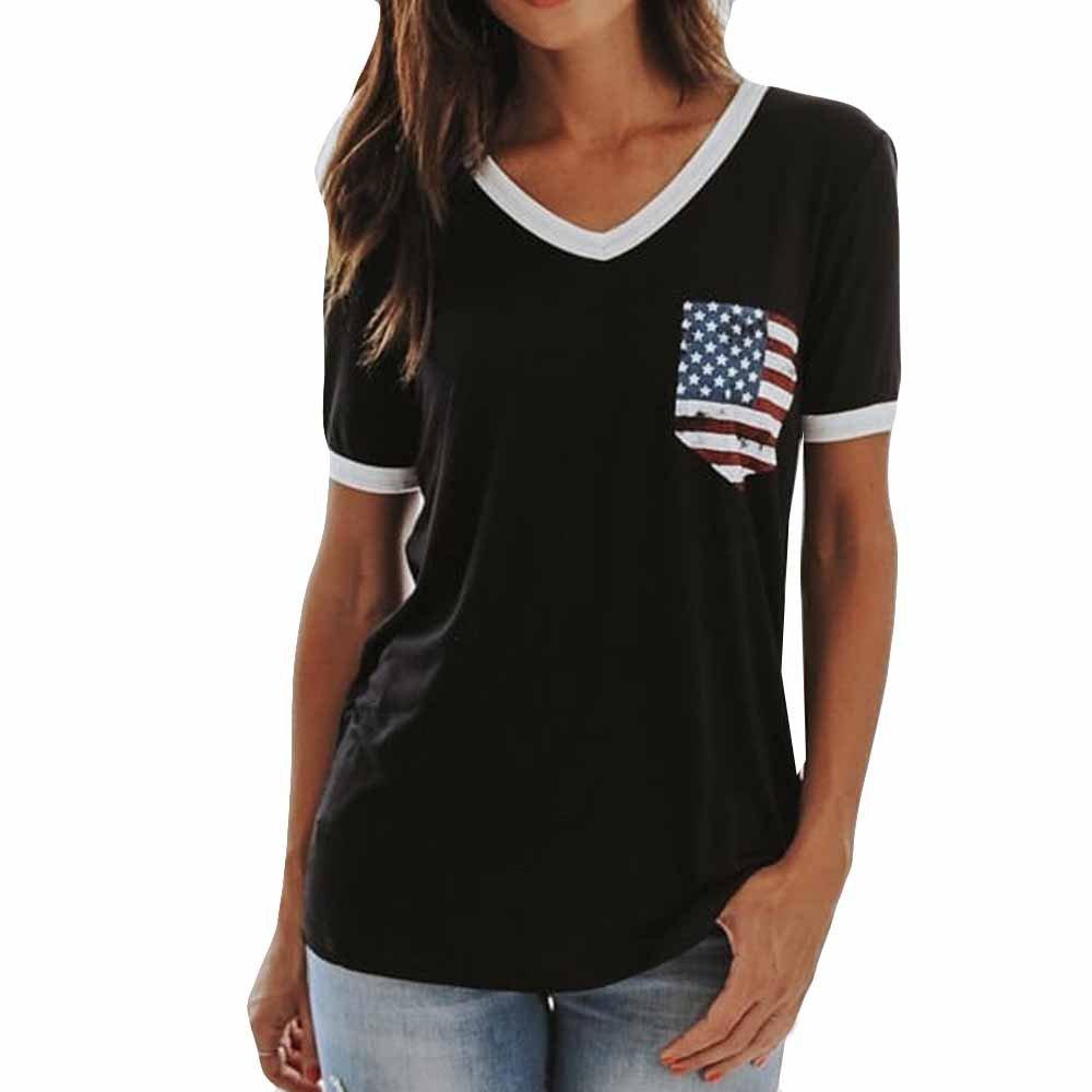 Veodhekai Women's American Flag T-Shirt Patriotic Short Sleeve Stripes Star Flag Print V-Neck Tank Tops Black